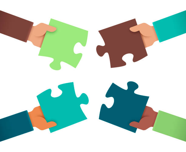 working together puzzle hands - koordynacja stock illustrations
