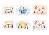 Working together set. People painting Easter eggs, sorting garbage, painting Purpose and Success words. Flat vector illustrations. Teamwork concept for banner, website design or landing web page