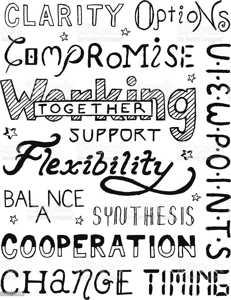 Working Together Text royalty-free stock vector art
