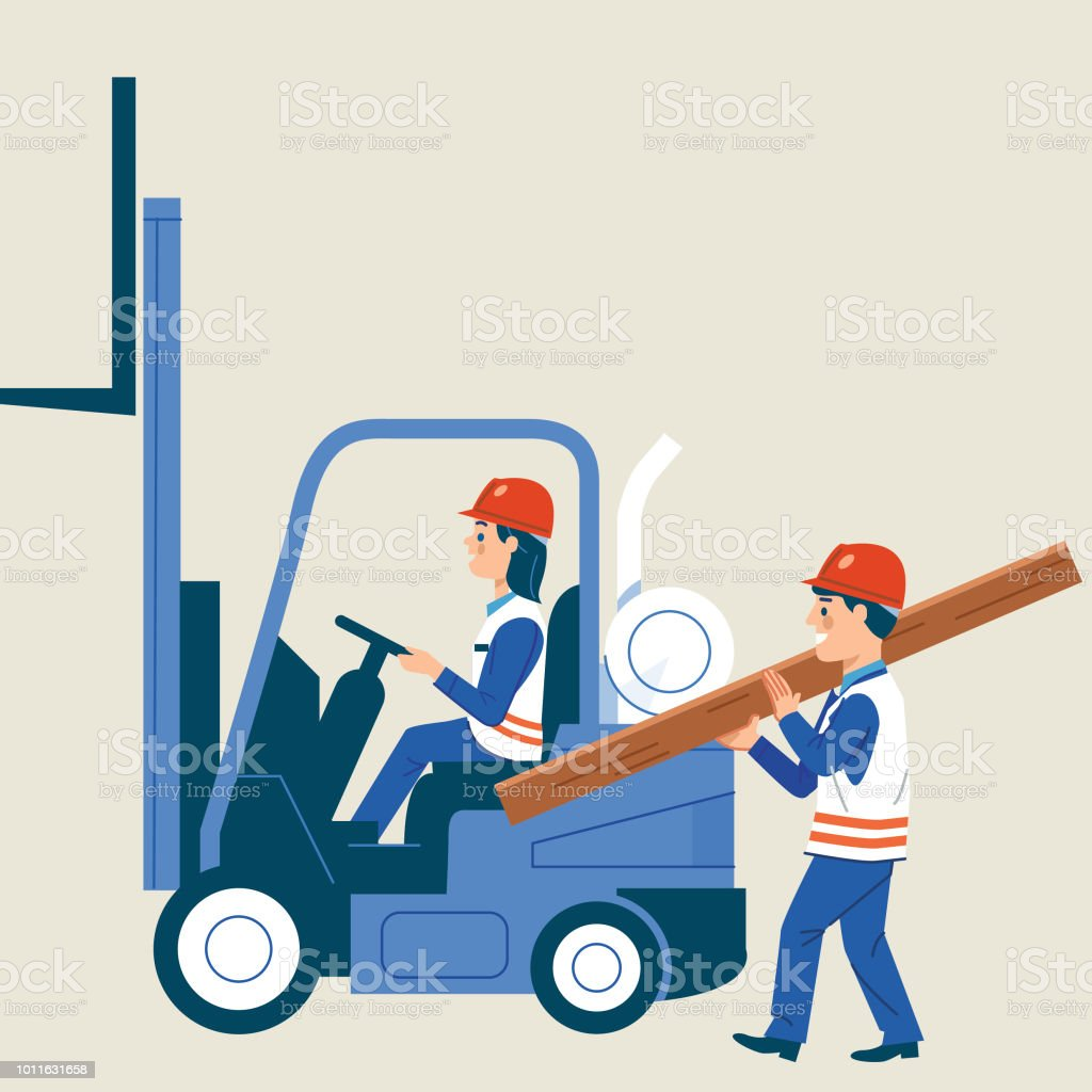 Working together vector art illustration