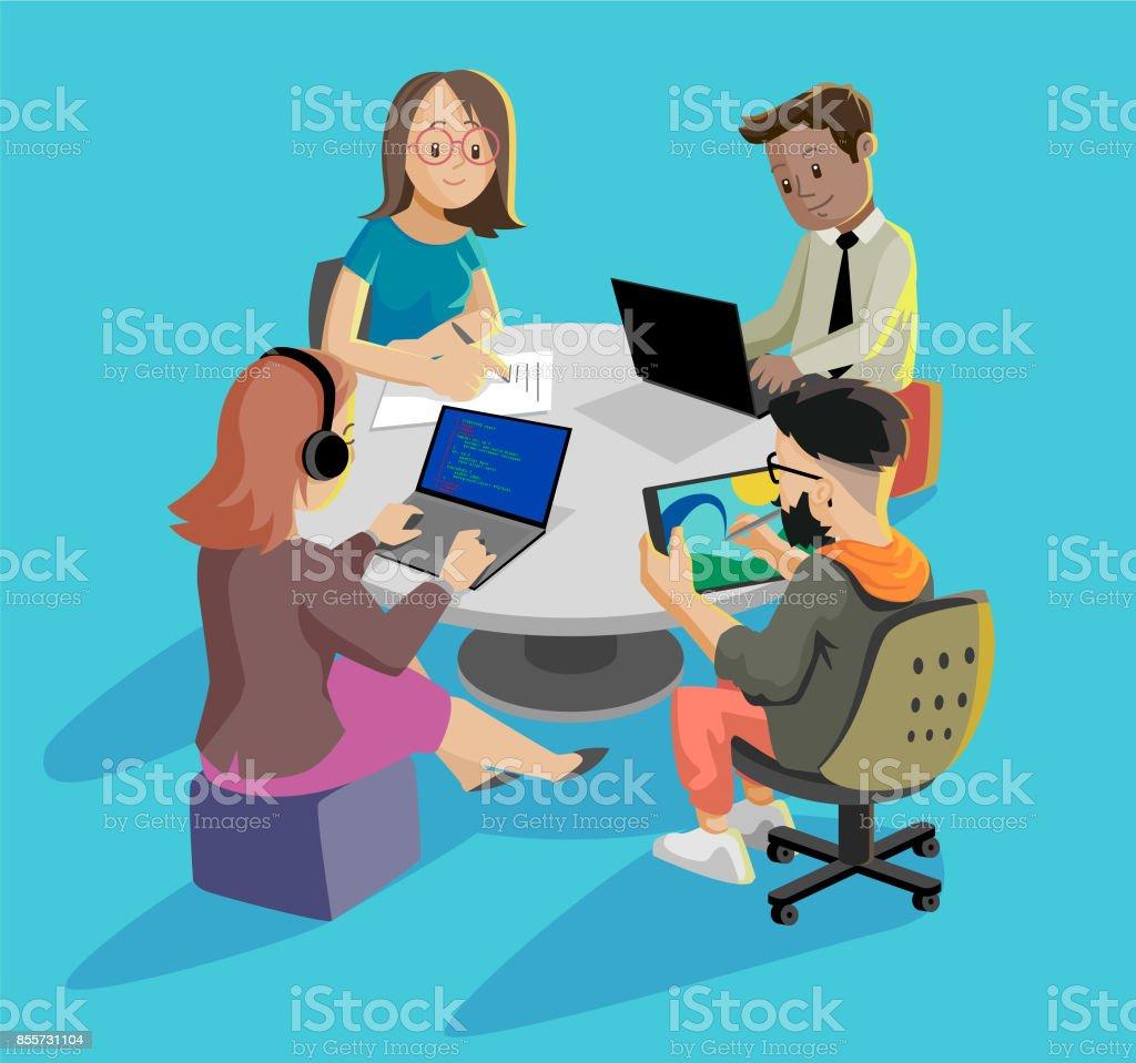 Working together vector art illustration
