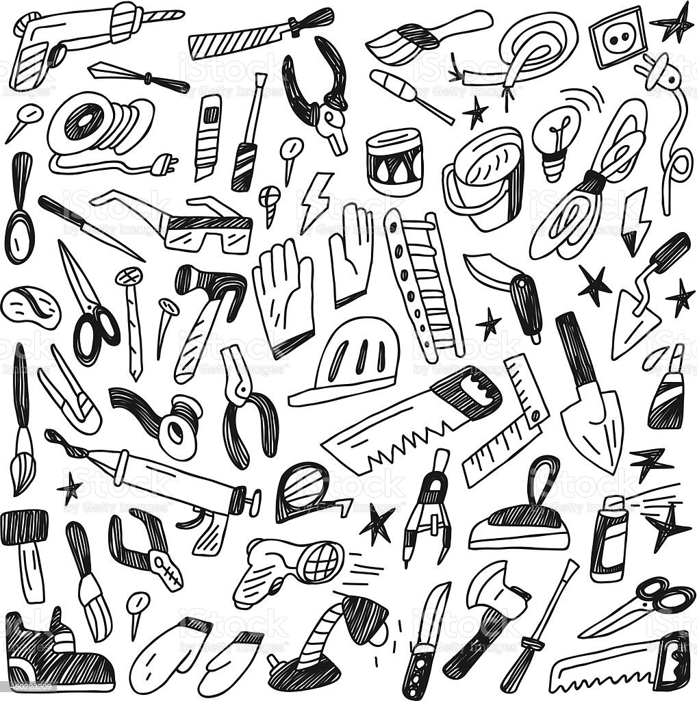 working tools - doodles royalty-free stock vector art