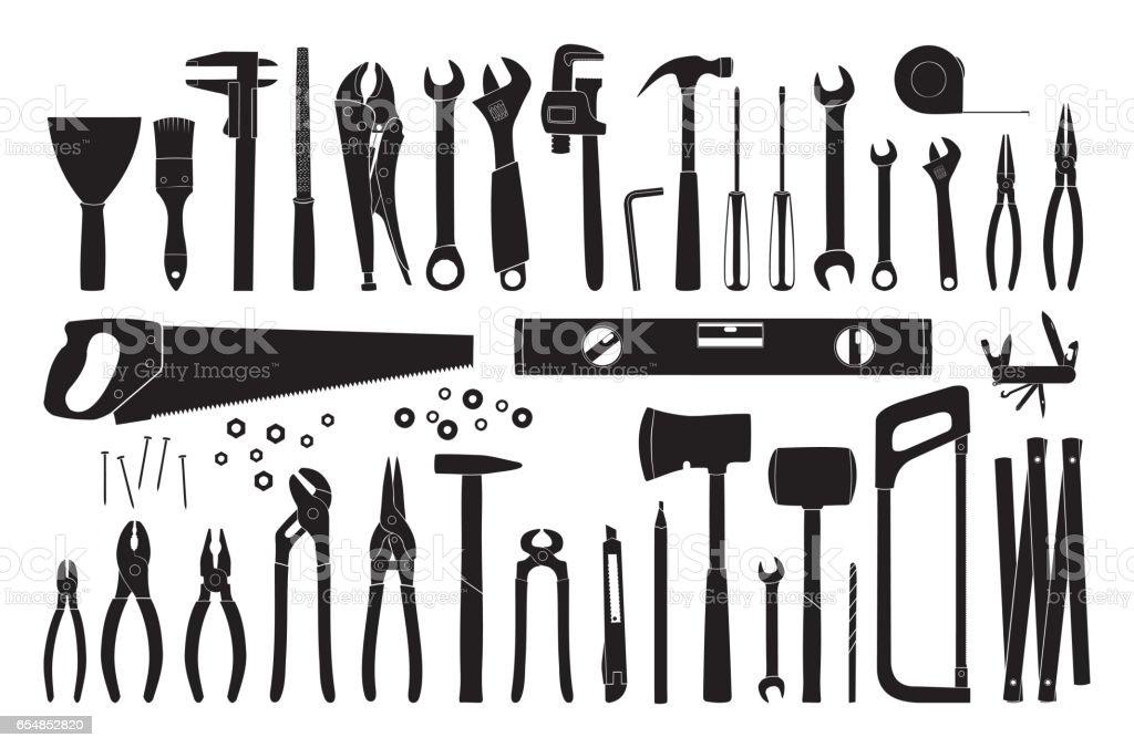 Working tools icon set vector art illustration