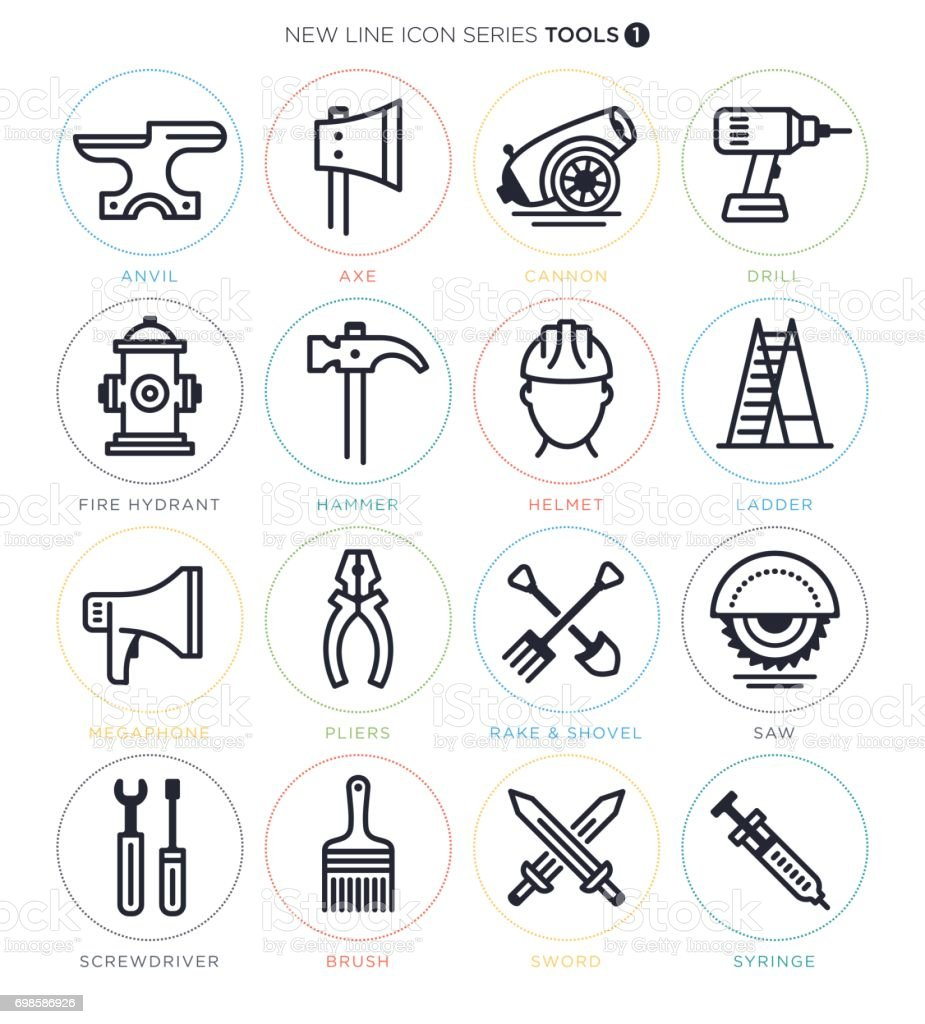 Working Tools Icon Set vector art illustration