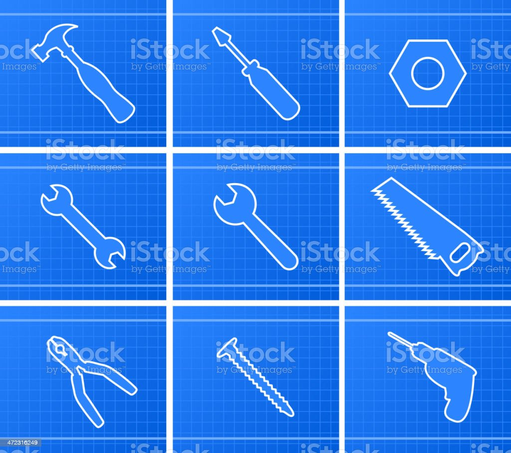 Working Tools Icons Set royalty-free stock vector art