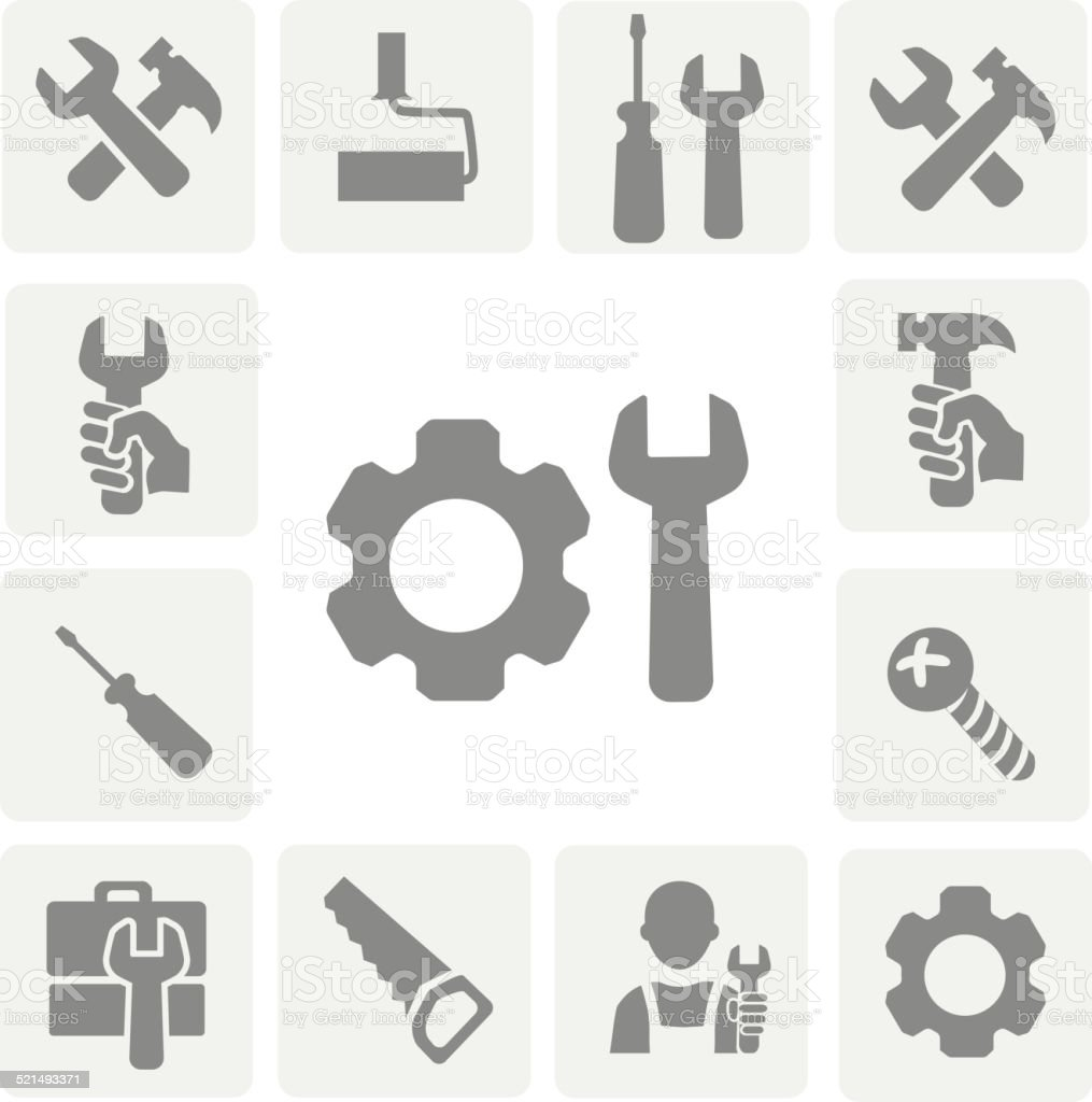 working tools isolated  icons  set of hammer wrench screwdriver and vector art illustration