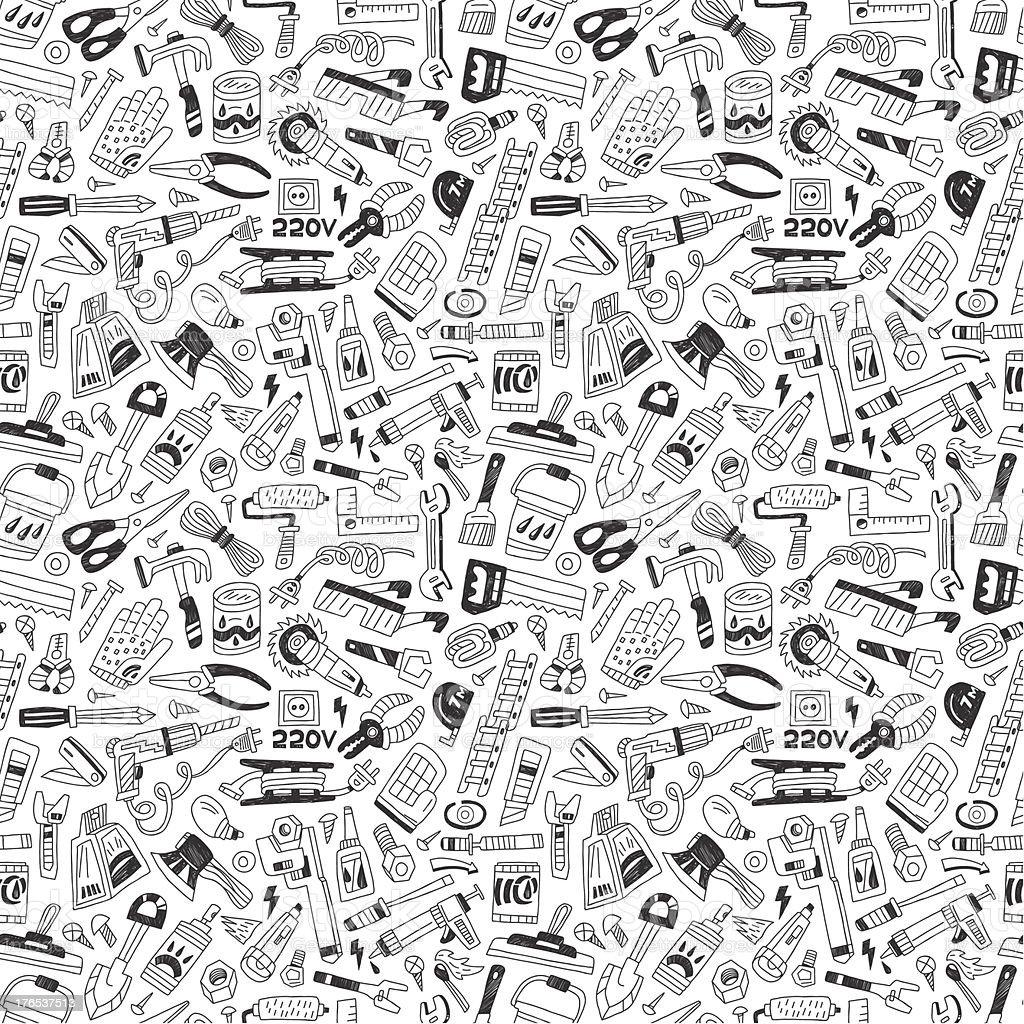 working tools, repair - seamless background royalty-free stock vector art