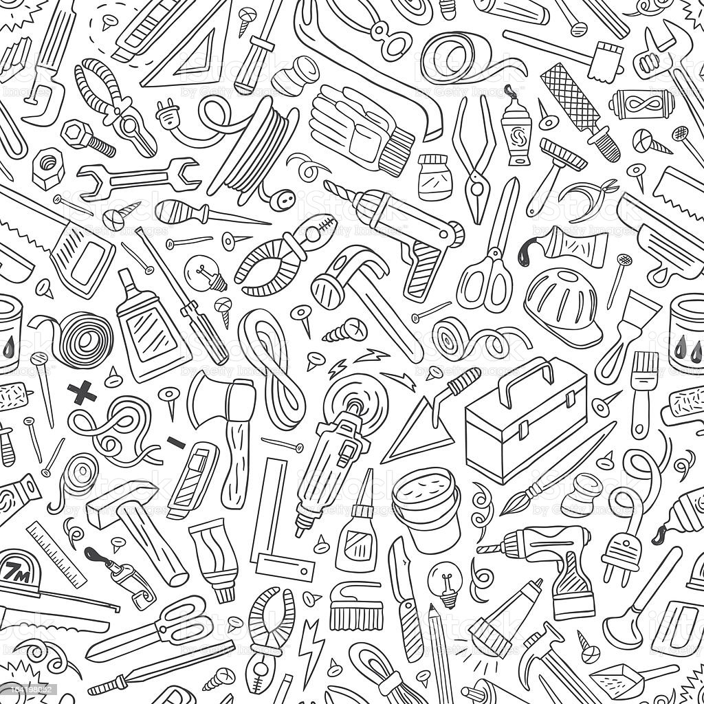 working tools - seamless vector background royalty-free working tools seamless vector background stock vector art & more images of authority