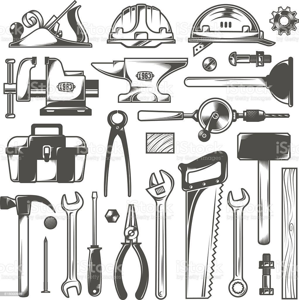 Working tools vector art illustration