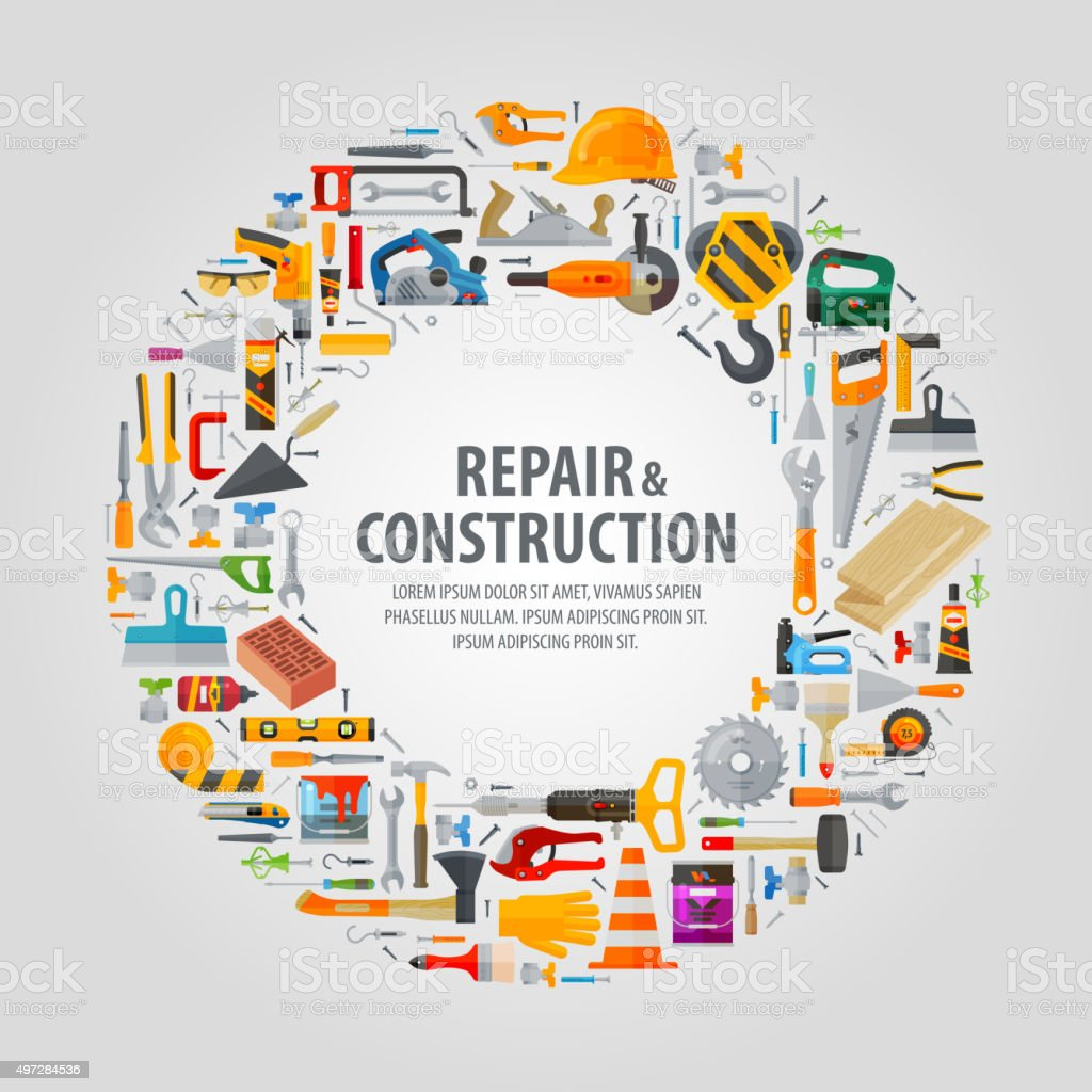 working tools vector logo design template. construction or repair icons vector art illustration