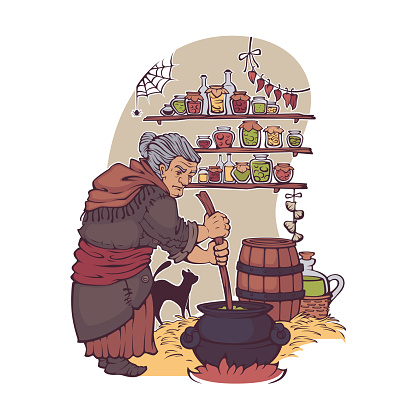 Working Witch, old lady making a magic potion,  for your Halloween card, leaflet, invintation