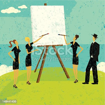 Business people working with a blank canvas to figure out their strategy. The people & easel and the background are on separately labeled layers.