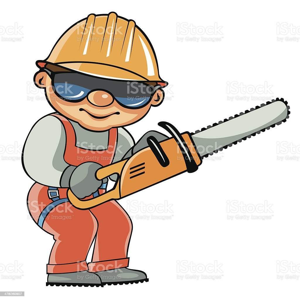 Working with the chainsaw vector art illustration
