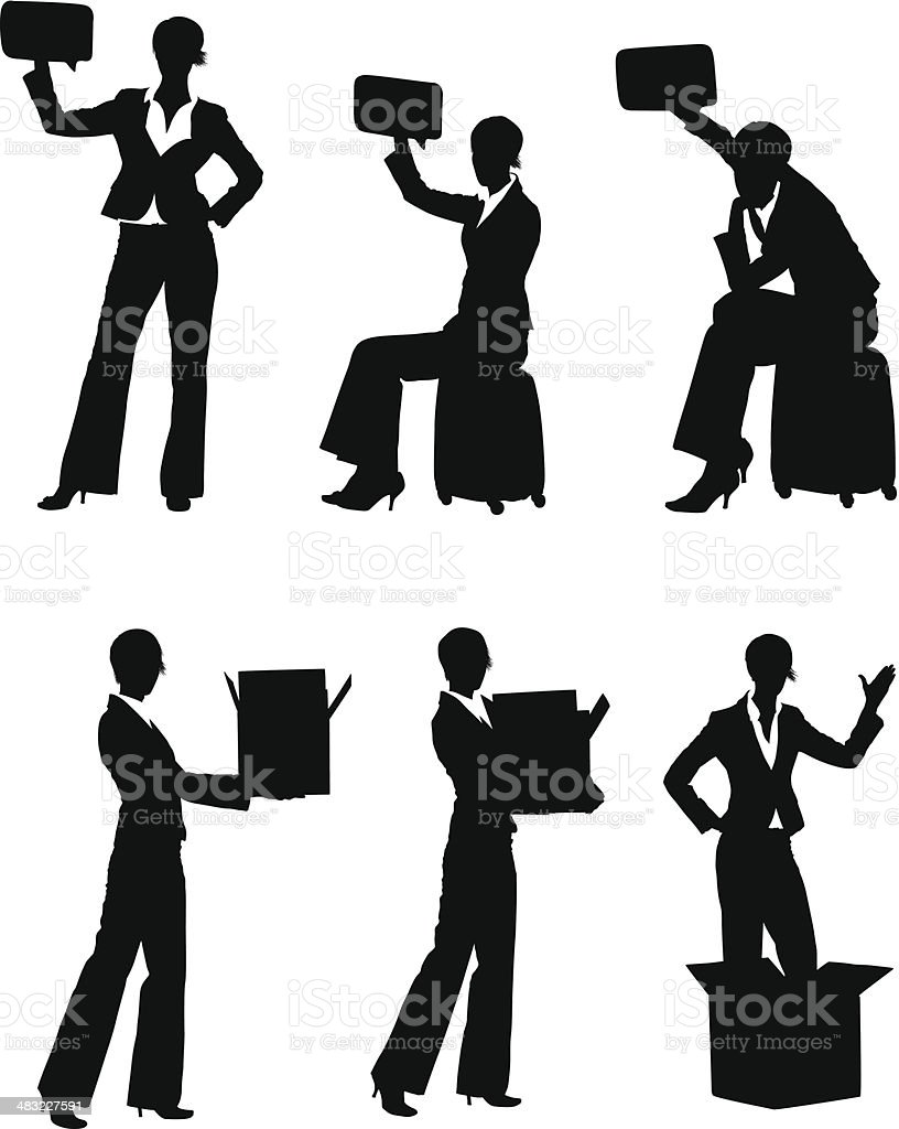 Working woman with boxes and speech bubbles royalty-free stock vector art