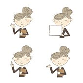 A working woman wearing business suite with various poses