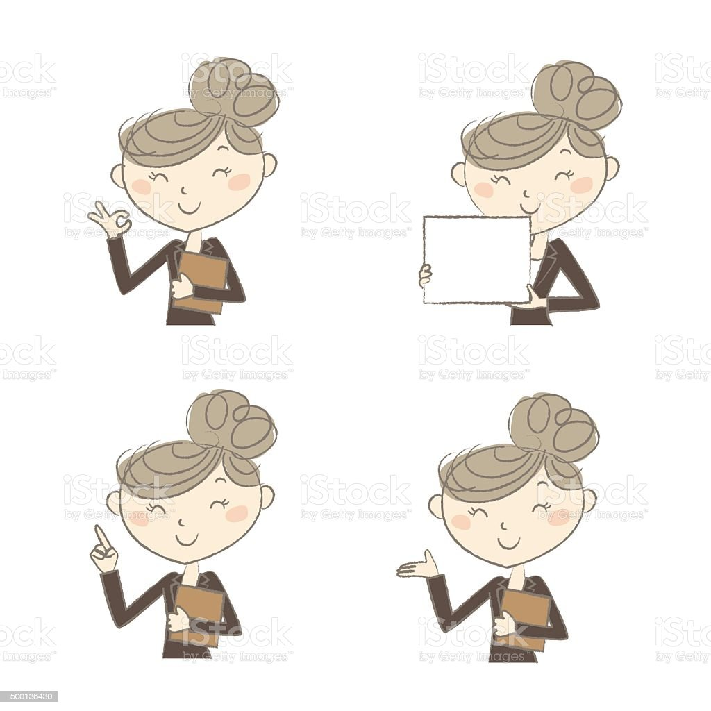 Working woman with various poses vector art illustration