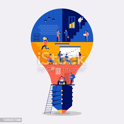 Illustrations flat design concept working space building icon light bulb. Create by small business people working inside. Vector illustrate.