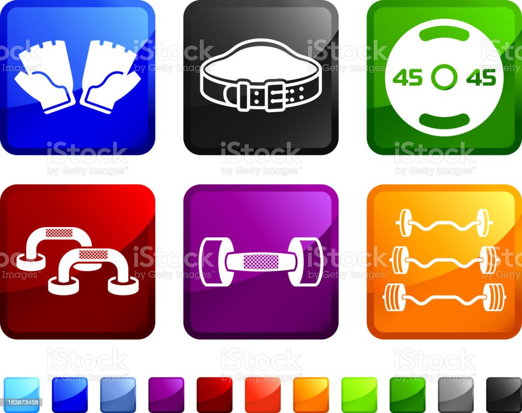 Workout and Exercise Equipment royalty free vector icon set stickers royalty-free stock vector art
