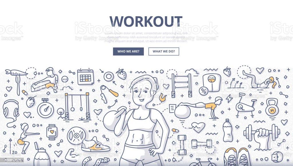 Workout Doodle Concept vector art illustration