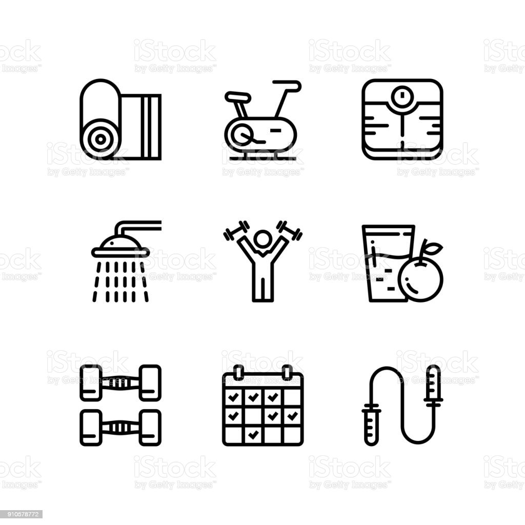 Workout, fitness, gym icons for web and mobile design pack 3 vector art illustration