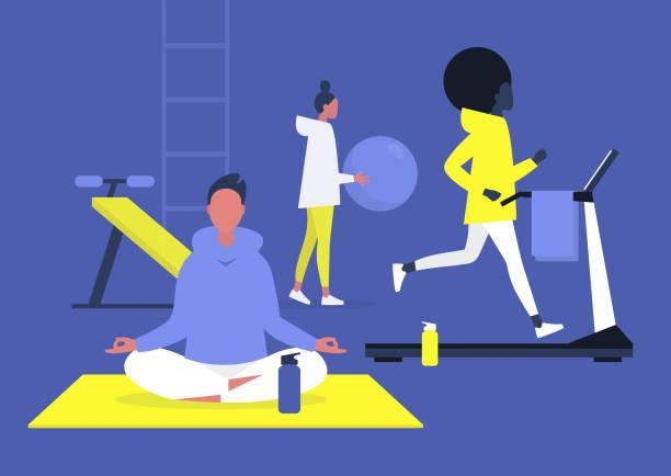 stockillustraties, clipart, cartoons en iconen met training in de sportschool scene, jonge volwassenen joggen, doen yoga en aerobics, gezonde levensstijl - gym