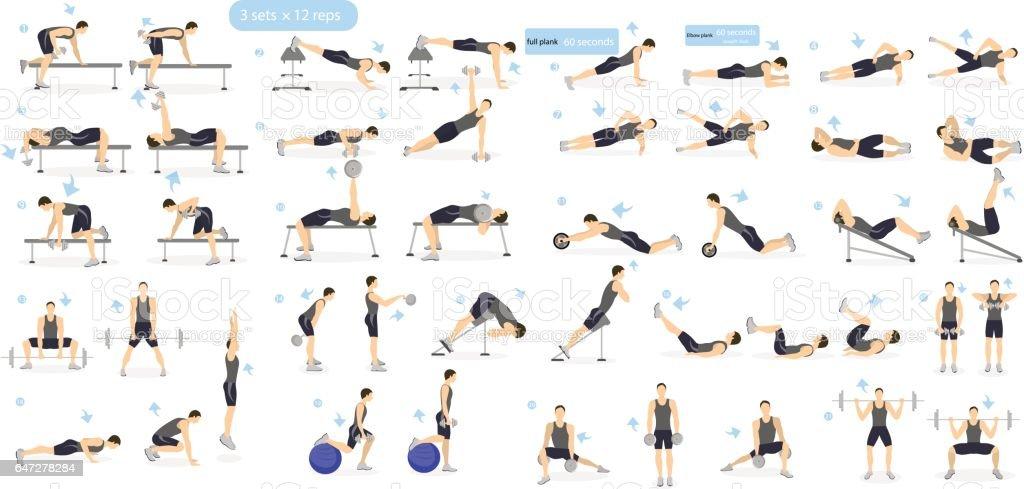 Workout man set. vector art illustration