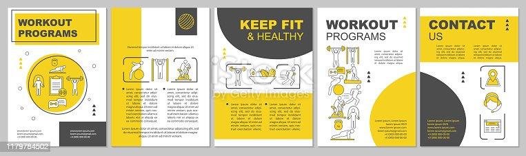 istock Workout program brochure template layout 1179784502