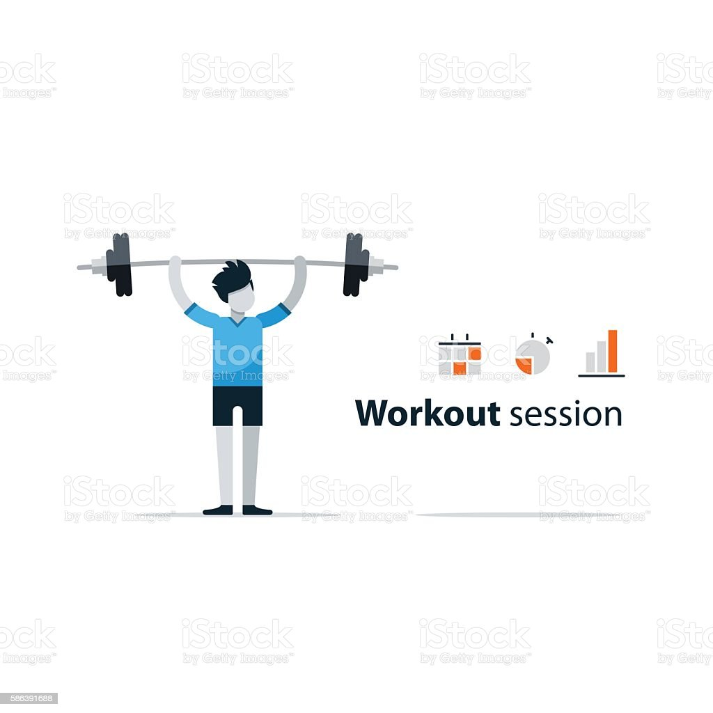 Workout Session Exercises In Gym Fitness Time Barbell