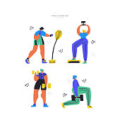 Workout, training hand drawn flat illustration set. People in sportive clothes cartoon characters. Boxing with punching bag and exercises with dumbbells. Healthy lifestyle vector color drawing pack