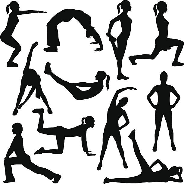 ilustraciones, imágenes clip art, dibujos animados e iconos de stock de de ejercicios - entrenador personal