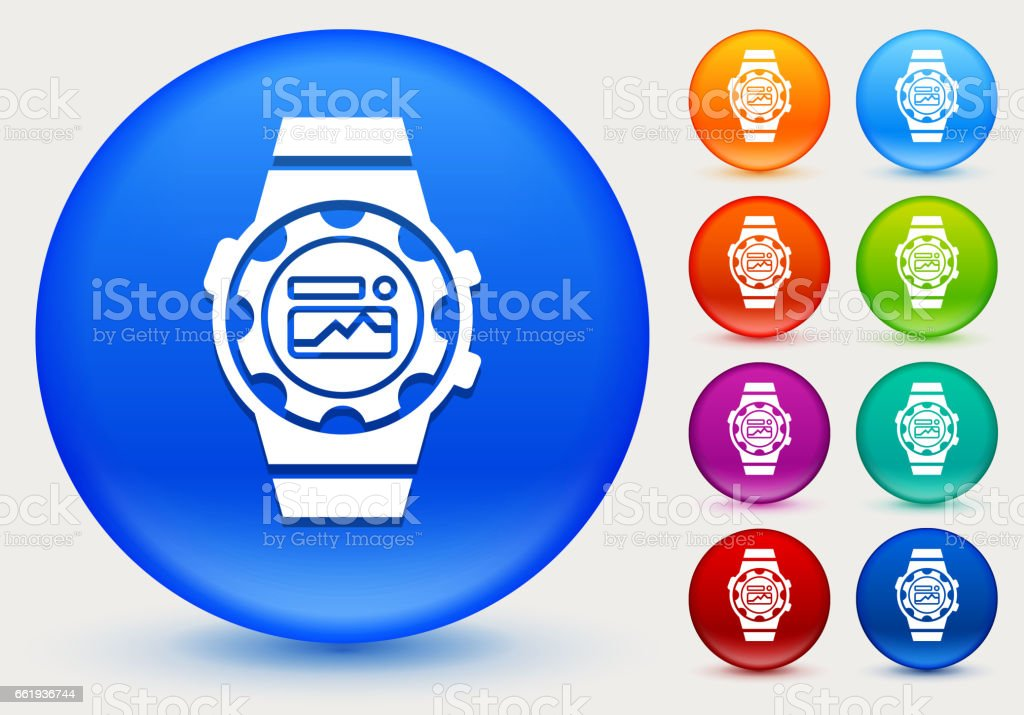 Workout Watch Icon on Shiny Color Circle Buttons royalty-free workout watch icon on shiny color circle buttons stock vector art & more images of circle