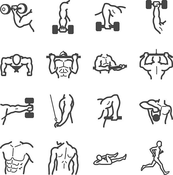 Workouts icon set vector art illustration