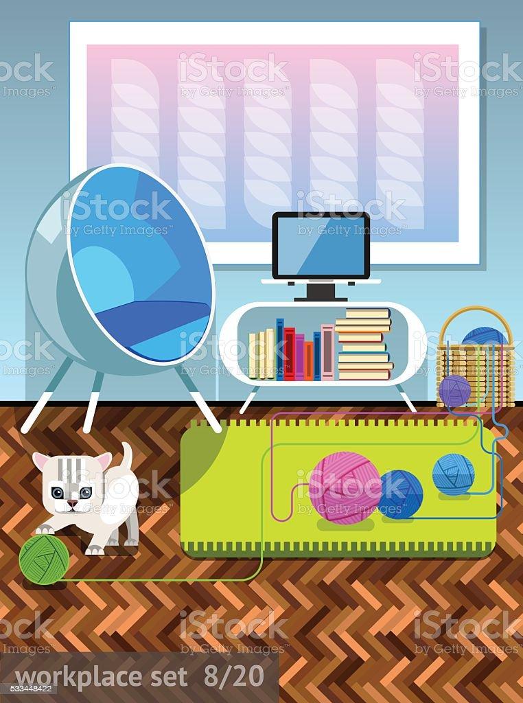 Workplace 8 vector art illustration