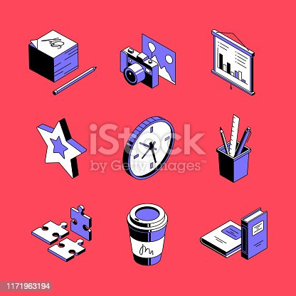 Workplace accessories - colorful vector isometric icons set. Creative job, modern office idea 3d thin line objects. Puzzle pieces, stationery, books. Camera and photograph isolated outline images
