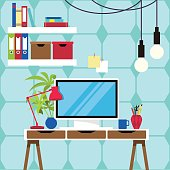 Vector illustration of the workplace and equipments flat design.
