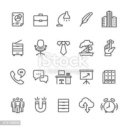 Workplace and Office related vector icons.
