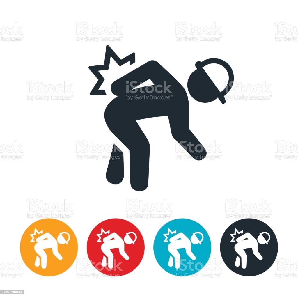 Workplace Back Injury Icon vector art illustration