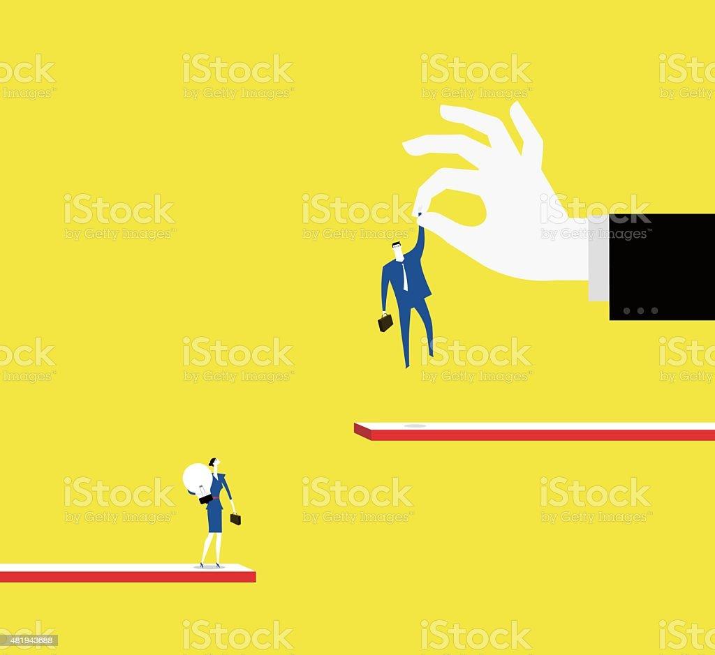 Workplace bias vector art illustration