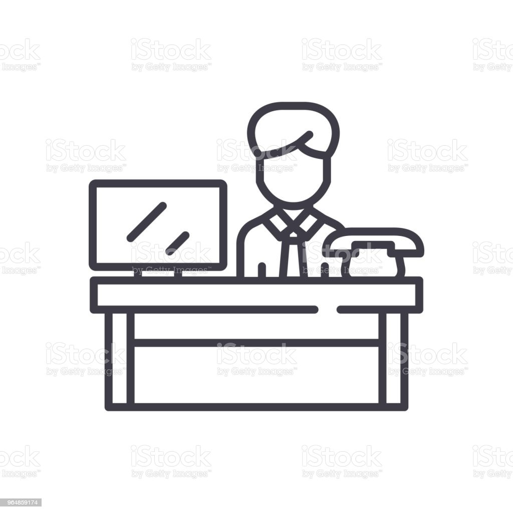 Workplace black icon concept. Workplace flat  vector symbol, sign, illustration. royalty-free workplace black icon concept workplace flat vector symbol sign illustration stock vector art & more images of adult
