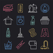 Workplace cleaning and decontamination neon style concept outline symbols. Line vector icon sets for infographics and web designs.