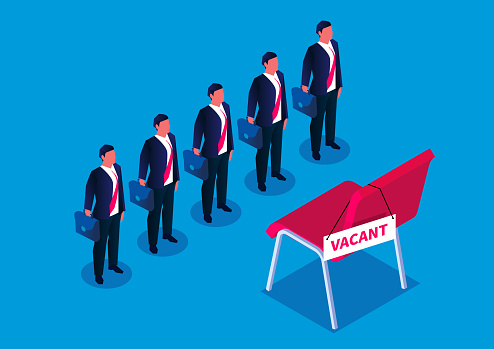 Workplace competition, five businessmen compete for a vacant office chair