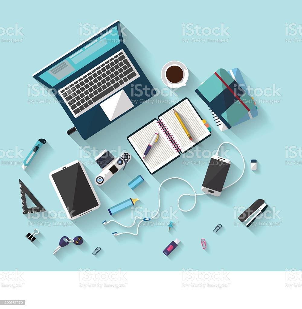 Workplace concept. Flat design. vector art illustration