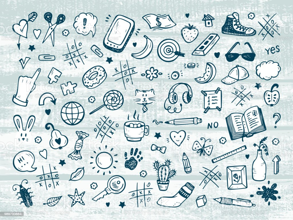 Workplace Concept Icons Set Mess On The Table Messy Desk Hand Drawn