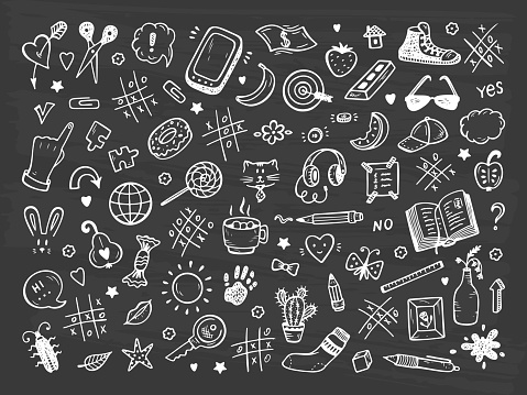 Workplace concept. Icons set. Mess on the table. Messy desk. Hand Drawn Doodle Tic Tac toe, Stationery, Food and other items that are on desktop. Back to school. Vector illustration