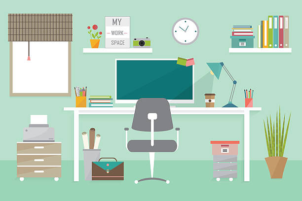 Royalty Free Home Office Desk Clip Art, Vector Images ...