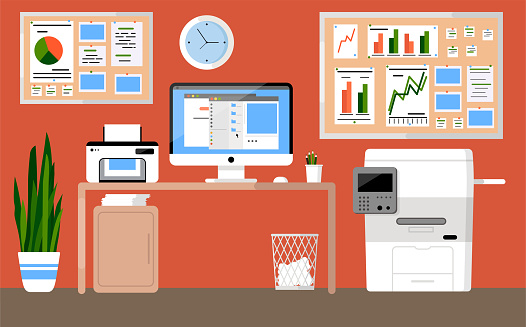 Workplace concept. Office interior. Design for co working. Desktop with computer, clock, graph, scanner, folders, Xerox, paper basket, organized, cork board and pencils. Self-education. Cabinet. Study