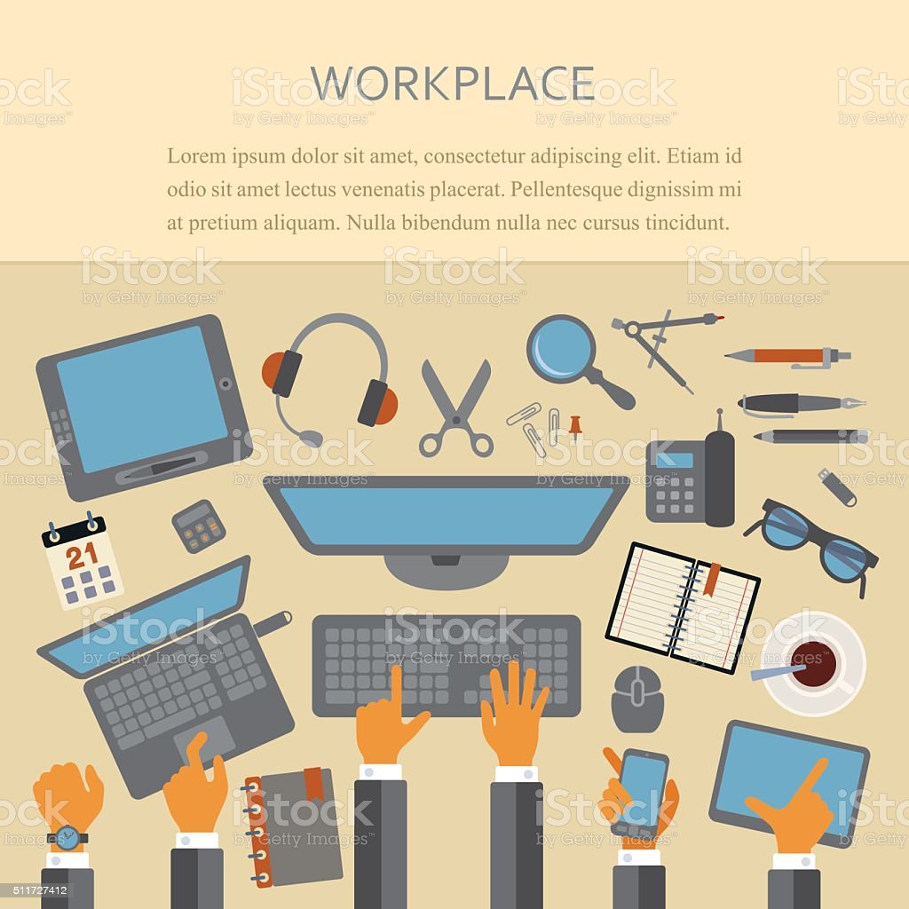 Workplace Concept vector art illustration