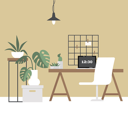 Workplace. Design bureau. Workspace. Modern scandinavian interior. Flat editable vector illustration, clip art. Stylish and cozy. No people.