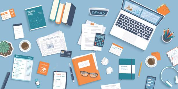 tło pulpitu workplace. widok z góry na stół, laptop, folder, dokumenty, notatnik, wizytówkę, torebkę, kalendarz, zegar, książki, kawę, paszport, zmięty papier. tło biznesowe, organizacja - grupa przedmiotów stock illustrations