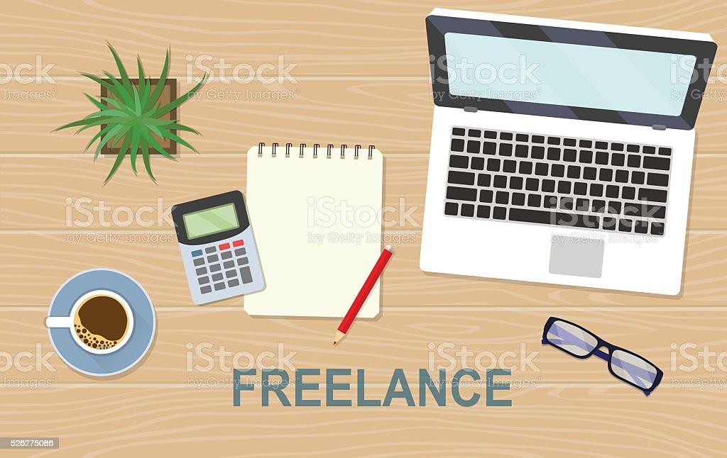 Workplace Freelancer On A Wooden Desk Background Vector Flat